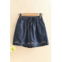 Cute Shorts Bow Embroidery Pocket Drawstring Mid Rise Fitted Denim Shorts for Women