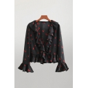 Sexy Girls All Over Cherry Printed Bell Long Sleeve Ruffled Trim Surplice Neck Loose Fit Blouse Top in Black