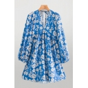 Womens Casual All Over Flower Printed Blouson Sleeve V-neck Bow Tied Short Swing Dress