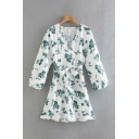 Leisure Womens All Over Flower Printed Blouson Sleeve V-neck Bow Tied Waist Short A-line Dress in White