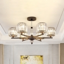 Black Cylinder Semi Flush Chandelier Simple 6 Heads Clear Crystal Ceiling Lighting for Dining Room