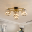 Flower Crystal Prisms Semi Flush Light Modern 4/6/7 Heads Gold Ceiling Mounted Fixture for Living Room