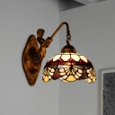 Baroque Scalloped Wall Light 1-Head Stained Glass Wall Mount Lighting in Gold with Mermaid/Swirled Arm