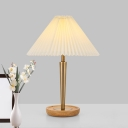 1-Light Fabric Nightstand Lamp Country Gold Pleated Tapered Bedroom Night Lighting