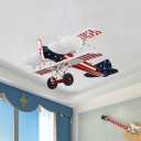 Kids 5-Head Pendant Lighting Red Fighter Aircraft Chandelier Lamp with Frosted White Glass Shade