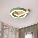 Tick and Circle Iron Flushmount Macaron Grey/Green and Wood LED Surface Ceiling Lamp for Kids Bedroom