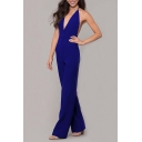Womens Jumpsuits Creative Plain Backless Sleeveless Deep V Neck Regular Fitted Wide Leg Jumpsuits