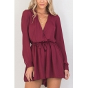 Womens Rompers Creative Plain Drawstring Waist Surplice Neck Loose Fitted Long Sleeve Rompers