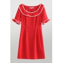 Womens Contrast Stitching Patchwork Crew Neck Ruffle Short Sleeve Midi Shift Dress in Red