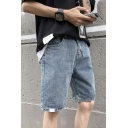 Fashionable Guys Blue Mid Waist Solid Color Straight Denim Shorts