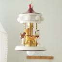 Whirligig Metallic Chandelier Lighting 9-Bulb Kids White Hanging Pendant Light for Bedroom