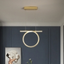 Modern Circular Pendant Lamp Metal LED Bedroom Hanging Light Fixture in Gold, Warm/White Light