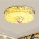 Crystal Round Flushmount Lighting Simple Chrome LED Ceiling Lamp with Bluetooth Speaker, 7 Color Light