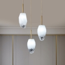 Frosted Glass Geometric Cluster Pendant Modern 3 Lights Gold Finish Hanging Light Fixture with Linear/Round Canopy