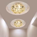 LED Hallway Ceiling Mounted Light Modern Style Stainless-Steel Flush Lamp with Flower Clear/Amber Crystal Shade
