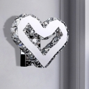 Clear Crystal Heart Wall Lamp Modern Style LED Wall Mounted Light in Stainless-Steel, Warm/White Light