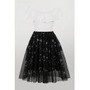 Glamorous Womens White Color Block Sequined Star Moon Print Patchwork Mesh Off the Shoulder Short Sleeve Midi Fit & Flared Dress
