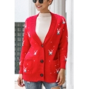 Pretty Womens All Over Deer Printed Long Sleeve Single Breasted Loose Knit Cardigan