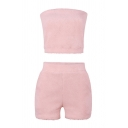 Pop Womens Solid Color Strapless Sleeveless Slim Fit Crop Eyelash Sweater Top & High Rise Pockets Shorts Set