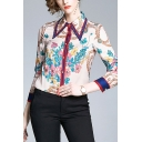 Stylish Womens Chain Floral Printed Contrast Stripes Trim Button Up Point Collar Long Sleeve Regular Fit Shirt in Apricot