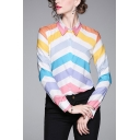 Colorful Fashion Womens Chevron Printed Button Up Turn-down Collar Long Sleeve Regular Fit Shirt