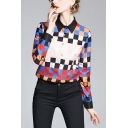 Chic Womens Color Block Button Up Turn Down Collar Long Sleeve Regular Fit Shirt