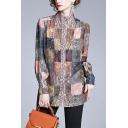 Khaki Vintage Plaid Paisley Printed Single Breasted Stand Collar Long Sleeve Regular Fit Shirt for Women