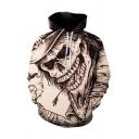 Novelty Mens 3D Hoodie Indian Skull Printed Drawstring Cuffed Regular Fitted Long Sleeve Hoodie