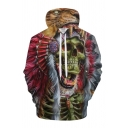 Cool Mens 3D Hooded Sweatshirt Skull Tribal Chief Tiger Pattern Drawstring Full Sleeve Fitted Hoodie with Pocket