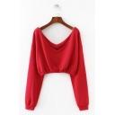 Sexy V Neck Long Sleeve Red Plain Cropped Sweatshirt