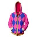 Popular Comic Theme Colorblock Geometric Pattern Drawstring Hooded Long Sleeve Pink Zip Up Hoodie
