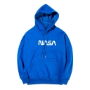 New Trendy Letter NASA Logo Pattern Long Sleeve Loose Fitted Hoodie