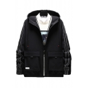 Novelty Mens Jacket Letter Printed White Stitching Flap Pockets Drawstring Cuffed Zipper up Long Sleeve Regular Fit Hooded Work Jacket