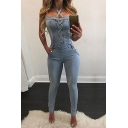 Basic Womens Jumpsuits Distressed Denim Stretch Lace-up Decorated Halter Neck Sleeveless Slim Fitted Jumpsuits
