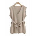 Leisure Gray Sleeveless V-neck Bow Tied Waist Knit Slit Sides Mini Shift Tank Dress for Ladies