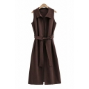 Trendy Brown Sleeveless Spread Collar Tied Waist Mid A-line Knit Dress for Women