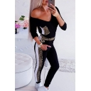 Womens Jumpsuits Stylish Color Block Leopard Skin Printed 7/8 Length V-Neck Slim Fitted Long Sleeve Jumpsuits