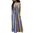 Basic Womens 3D Jumpsuits Vertical Striped Printed off Shoulder Short Sleeve Long Loose Fitted Jumpsuits