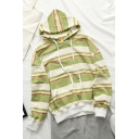 Casual Womens Stripe Printed Long Sleeve Drawstring Pouch Pocket Loose Fit Hoodie in Green