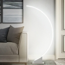Arched LED Floor Lamp Minimalistic Aluminum White/Coffee Reading Floor Light in Warm/White Light