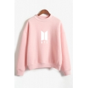 Hot Fashion BTS Pattern Long Sleeve Crew Neck Regular Sweatshirt