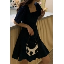 Retro Womens Solid Color Ruched Ruffled Stringy Selvedge Tie Front Square Neck Short Puff Sleeve Mini A-Line Dress