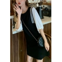 Black & White Stylish Striped Print Patchwork Fake Two Pieces Round Neck Puff Sleeve Mini Swing Dress for Women