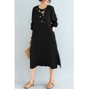 Casual Womens Linen and Cotton Flower Embroidered Long Sleeve Crew Neck Slit Sides Mid Oversize Dress