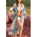 Womens Ethnic All Over Flower Printed Long Sleeve Open Front Sun Protective Long Loose Fit Coat in Apricot
