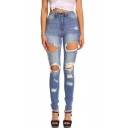 Womens Jeans Blue Simple Medium Wash Distressed Mention Hip Zipper Fly Slim Fit 7/8 Length Tapered Jeans