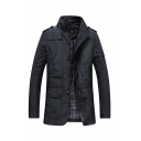 Mens Jacket Trendy Plain Plaid-Lined Pockets Epaulets Zipper down Mock Neck Long Sleeve Slim Fitted Casual Jacket