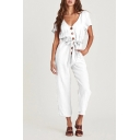 Retro Womens Jumpsuits Plain Tie-Waist Front Button Detail V Neck Loose Fitted Short Sleeve Jumpsuits