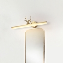 Metallic Beamed Wall Lighting Fixture Simplicity LED Gold Wall Vanity Lamp with Antler Design in Warm/White Light