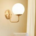 Minimalism Globe Wall Mounted Lamp White Glass 1 Light Corridor Wall Lighting with U-Shape Arm in Gold